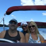 Captain Ed in the harbor with friends Steve and Lisha anticipating a great feast at the Lobster