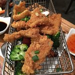 Salt & pepper squid, Singapore noodles with prawns and bbq duck - very nice