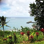 Late July visit to Hana: pathway to Luana Spa, view, landscaping