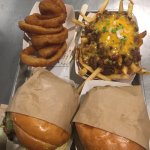 Burgers, chilli fries and onion rings