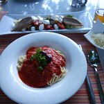 Pomodoro spaghetti & roast vegetable feta salad from hotel restaurant