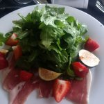 Fig and Arugala salad with shaved prosciutto
