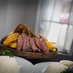 Churrascaa - Grilled Meats and Sausage- Rice,Black Beans and Collard Greens,Plantain,Yuka ,Pole