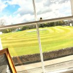 View over cricket ground from Wensleydale and Swaledale bedrooms
