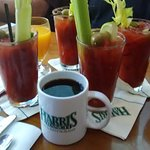 The best way to start the morning!!  Bloody Mary's with friends!!  Oh and coffee!