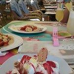Spaghetti Ice cream with strawberries