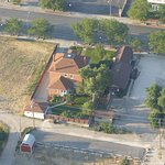 Solar Eclipse Aerial View of Historic Bishop Home