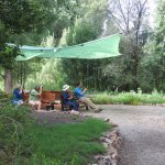 The backyard viewing area is ideal for quiet appreciation of hummingbirds and other bird species