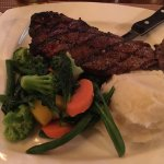 My steak, mashed potato and vegetables.