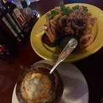 French onion soup and Calamari...both were delicious!