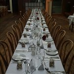 Simple and elegant table for our wedding celebrations. Set in a lovely historic building with a