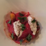 Heirloom tomato salad with burrata (yum)