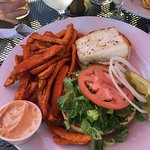 Halibut sandwich with sweet potato fries