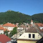 view from room of the Brasov sign and Mount Tampa