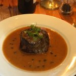 Fillet steak with brandy & peppercorn sauce