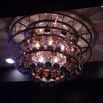 Overhead light fixture at Morton's