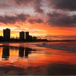 Sunset photo of the Gold Coast on the beach whuch is 100m from our business.