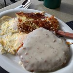 Chicken-Fried Steak with Eggs Over-Medium and Hash Browns