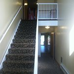 Here are the stairs; there is no elevator in the hotel.