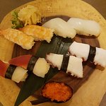 Assortment of nigiri: ebi, ika, tako, hokkigai, and tobiko