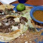 Carne asada burrito & 3 soft tacos real