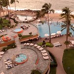 The hot tubs and pool area as seen from the 8th floor