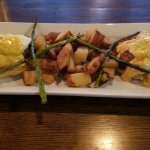 Eggs Benedict with crab and roasted potatoes!