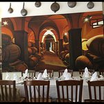 Nice painting of a wine cellar added to the ambience