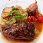 Vlees perfecte cuisson ! Smaakvolle sjalot op z'n geheel gestoofd.