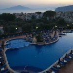 What a lovely early morning view, across the pool, the Bay of Naples and with My Vesuvius in the