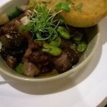 Chicken livers and broad bean entree, delish!