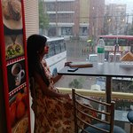 An amazing view of rains From inside Twisted Flavours.