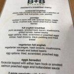 Breakfast menu and breakfast room