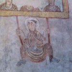 Wandfresko 8. Jh. Flucht des Bischof von Verona über die Stadtmauer. St.Prokulus später Viehpatr