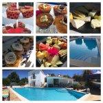 Billede collage med morgenmad og pool