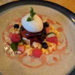 Summer cup jelly, summer fruits, limoncello sorbet