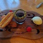 Cinnamon churros, chocolate pistachio ice cream