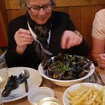 """Moules Frites"", Rope-Grown Mussels served in an Onion, Garlic, Parsley and White Wine Sauce."