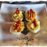 Deviled Eggs - bleu & bacon and pesto & sun dried tomato.