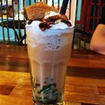 Surprised combination of Thai milk tea with local delight the red beans and cendol. Superb!