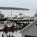 View from back deck/stairs of Room #12 of the Madeline Island ferries and harbor.