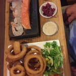 On the rocks has good quality stone cooked food, one of the best steaks we ever had . The staff