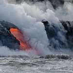 You really know the power of nature where you're this close to molten lava meeting the ocean!