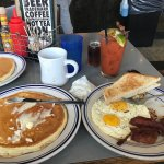 ROCKET PLATTER* $10 One pancake, two eggs, hash browns & two strips of bacon.