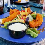 Wingman salad and jalapeno bites & queso