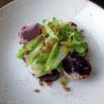 Beets, Sliced Celery & Crispy Farro Seed Salad