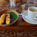 Pisang Goreng (Indonesian Banana Fritters) with coffee or tea before the class begins