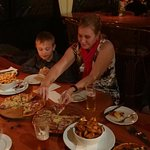 Adele, Sandi and Samuel enjoy some delicious pizza at McLeods - Waipu NZ