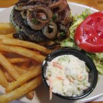 Yummy burger plate with added grilled onions