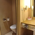 Sliding mirrored doors close toilet and bidet from main bathroom